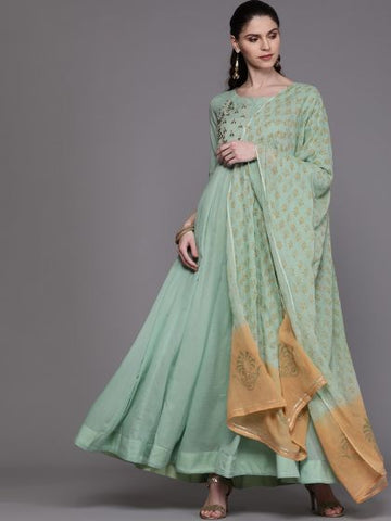 Designer and Beautiful Cotton Green Color Anarkali Suit