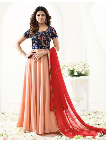 Designer Orange Embroidered Long Anarkali Suit