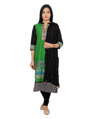 Beautiful Black and Green Color Cotton Straight Kurti with Legging & Dupatta