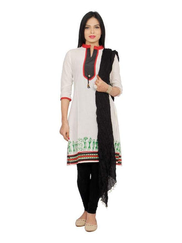 Beautiful Black and White Color Cotton Straight Kurti with Legging & Dupatta