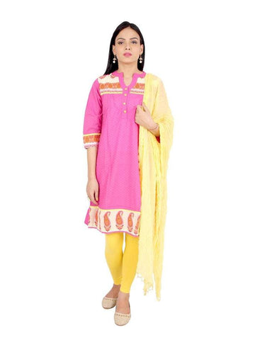 Beautiful Pink Color Cotton Straight Kurti with Legging & Dupatta