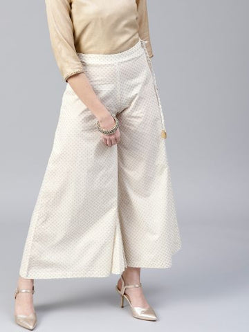 Beautiful Cotton Off White Palazzo Pant
