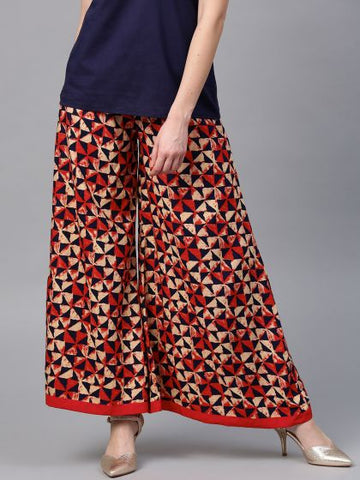 Beautiful Rayon Printed Red and Blue Palazzo Pant
