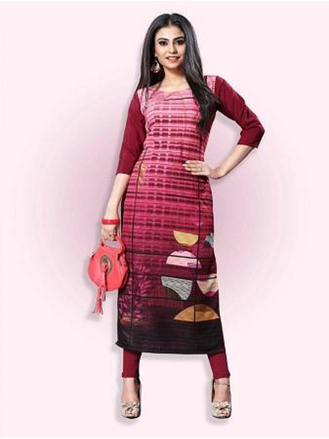 Dark Red Rayon Kurti - PurpleTulsi.com