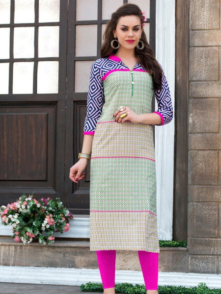 Light Olive Green and Blue Cotton Kurti