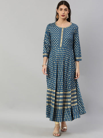 Blue Color Rayon Printed Dress