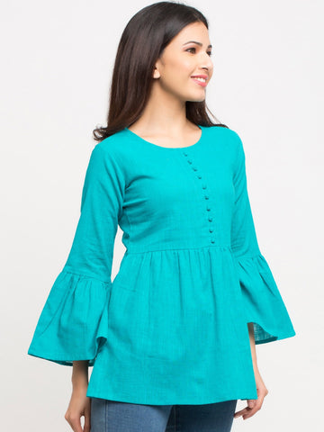 Teal Color Cotton Blend Top