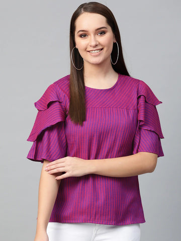 Magenta Color Cotton Blend Top