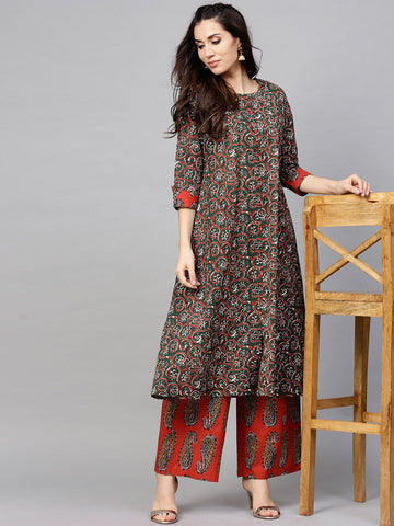 Green and Maroon Cotton Printed Anarkali Kurti with Palazzo