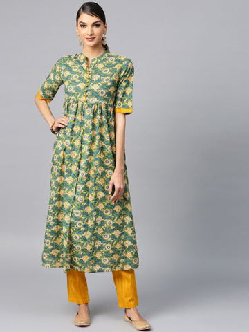 Green Cotton Printed Anarkali Kurti with Palazzo