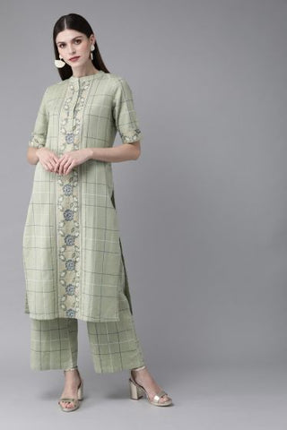 Green Cotton Printed Straight Cut Kurti with Palazzo