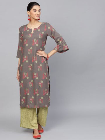 Grey and Green Cotton Printed Straight Cut Kurti with Palazzo