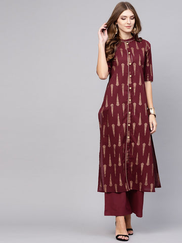 Maroon Cotton Printed Straight Cut Kurti with Palazzo