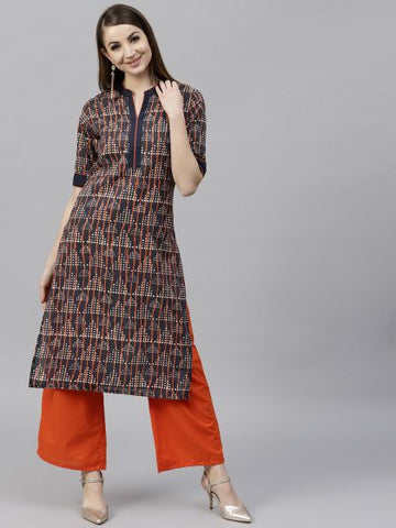 Navy Blue Cotton Printed Straight Cut Kurti with Palazzo
