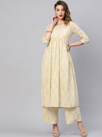 Off White Cotton Printed Anarkali Kurti with Palazzo