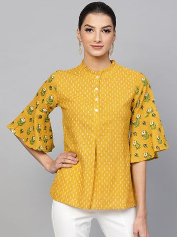 Mustard and Cream Color Cotton Printed Top