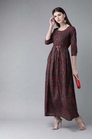 Grey and Red Color Cotton Printed Dress