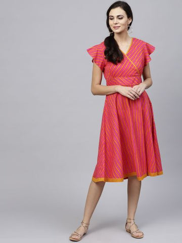 Magenta and Yellow Color Cotton Dress