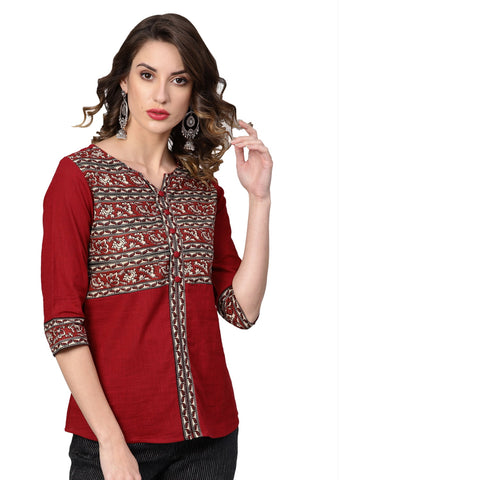 Maroon Color Cotton Printed Top