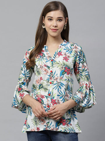 Multi Color Rayon Printed Top