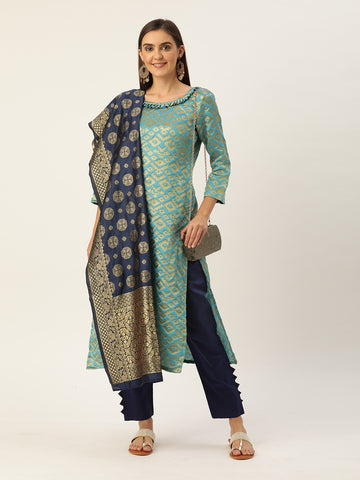 Sky Blue Jacquard Zari Woven Straight Cut Suit