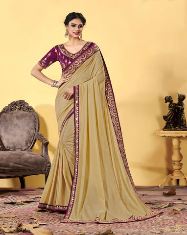 Beige Heavy Dola Silk Resham Embroidered Saree