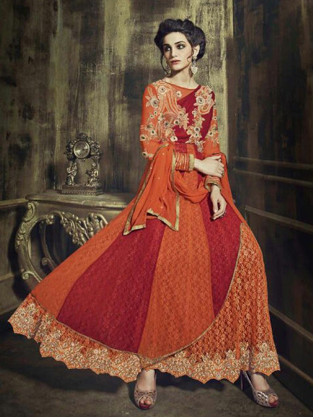 Orange and Red Premium Anarkali Suit