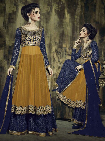 Mustard and Navy Blue Premium Anarkali Suit