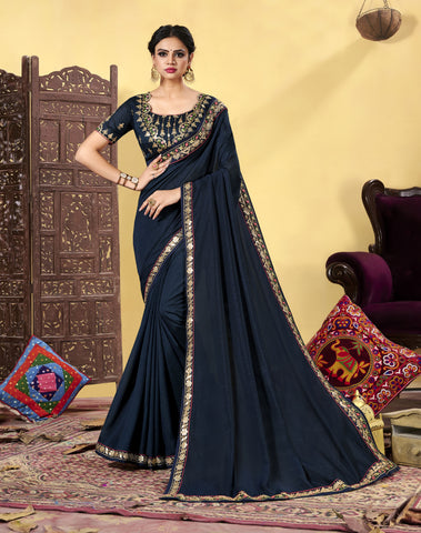 Navy Blue Heavy Dola Silk Resham Embroidered Saree