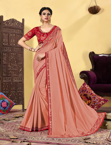 Peach Heavy Dola Silk Resham Embroidered Saree