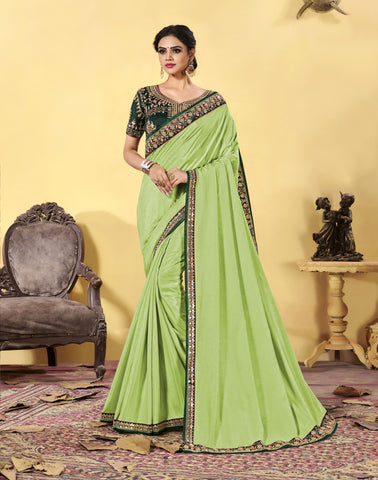 Parrot Green Heavy Dola Silk Resham Embroidered Saree