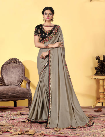Grey Heavy Dola Silk Resham Embroidered Saree
