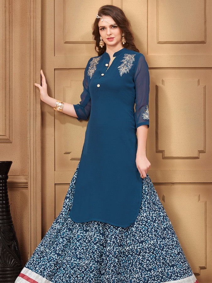 Teal Georgette Kurti with Shantoon Inner