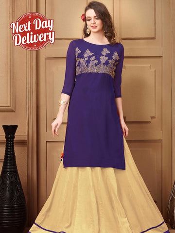 Dark Violet Georgette Kurti with Shantoon Inner