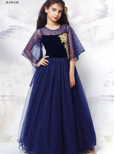 Navy Blue Gown - PurpleTulsi.com