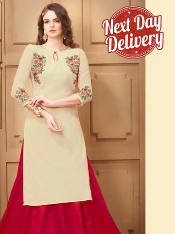 Beige Georgette Kurti with Shantoon Inner