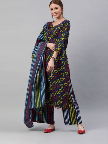 Beautiful Blue and Red Color Cotton Printed Straight Cut Suit