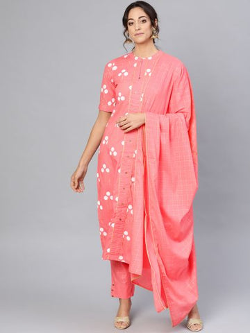 Beautiful Pink Color Cotton Printed Straight Cut Suit