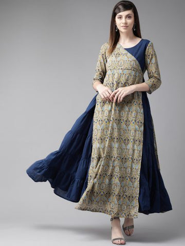 Blue and Beige Color Cotton Printed Dress