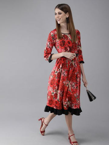 Red Color Cotton Printed Dress