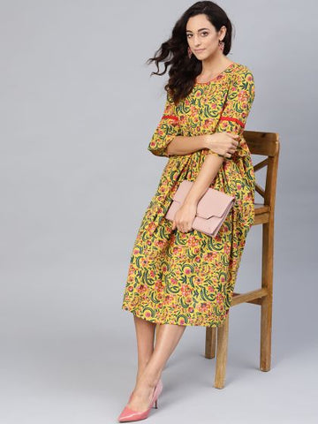 Yellow Color Cotton Printed Dress