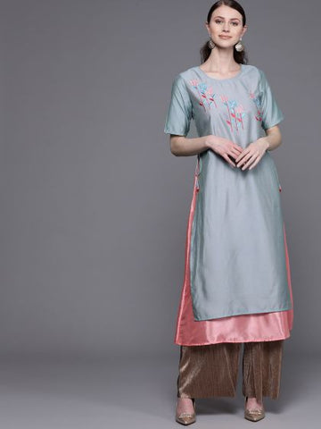 Beautiful Chanderi Silk Double Layer Anarkali Kurti