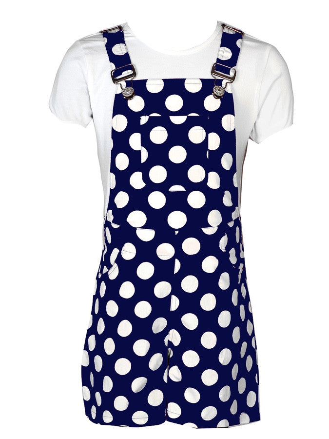 White and Blue Dungaree Shorts for Girls