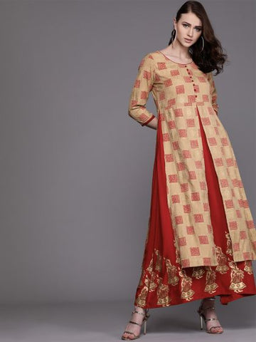 Red and Beige Cotton Printed Double Layer Anarkali Kurti