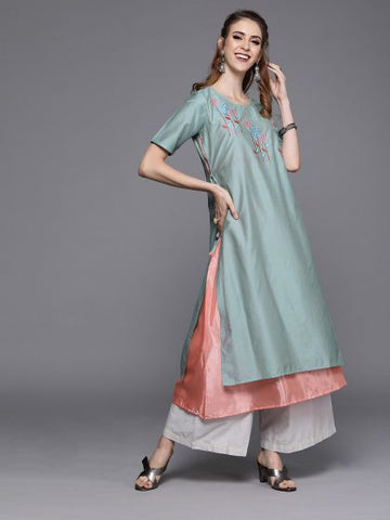 Sea Green and Pink Chanderi Silk Double Layer Anarkali Kurti