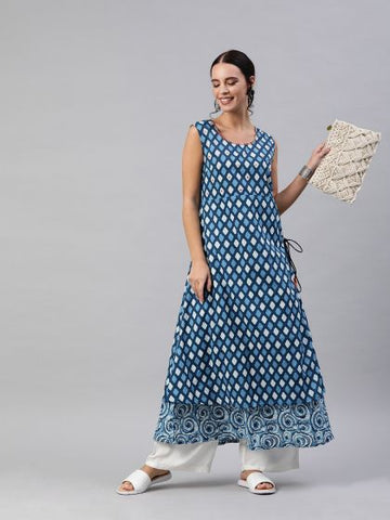 Blue Color Cotton Printed Anarkali Kurti