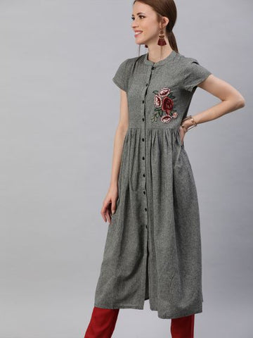 Grey Color Cotton Anarkali Kurti