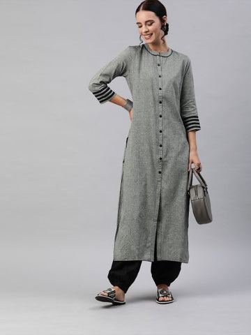 Grey Color Cotton Straight Cut Kurti
