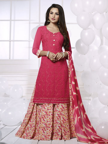 Stunning Pink Georgette Embroidered Suit with FREE Clutches