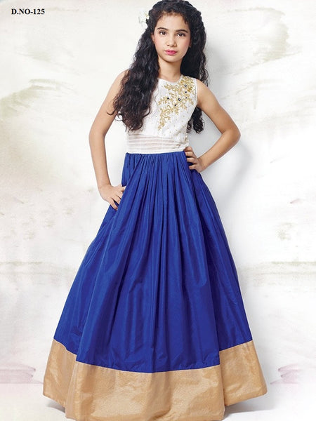 White and Admiral Blue Gown - PurpleTulsi.com